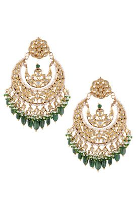 Indian Wedding Jewelry - Gold Chaand Bali | WedMeGood Gold Chaand Bali with Kundan Polki work and Green Emerald Beads #wedmegood #chandbali #kundan