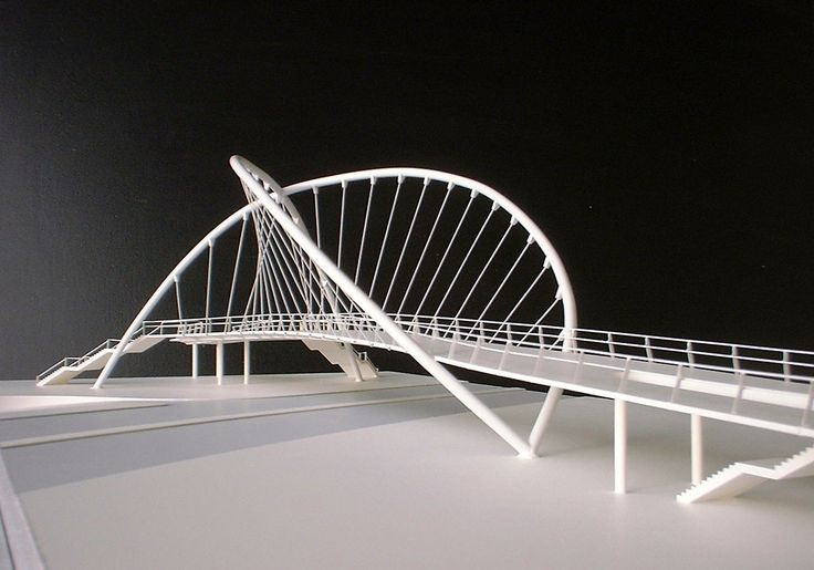 A suspension footbridge produced for Michael Hopkins Architects. All the structural components are soldered in brass making for a surprisingly robust model. 1:100 scale.
