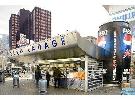"For the best ""Patat"" or ""Friet"", Bram Ladage! This is their location at Binnenwegplein, Rotterdam."