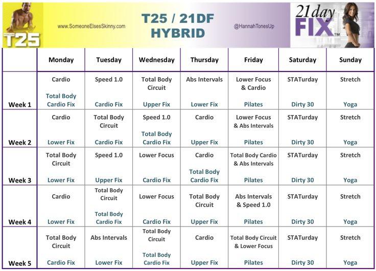 T25 : 21DF Hybrid Weeks 1-4 Calendar