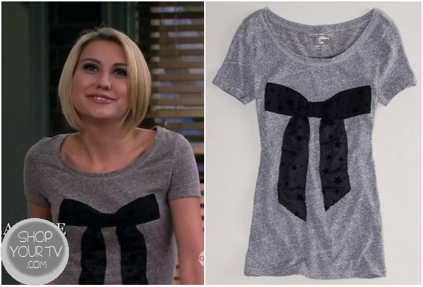 Baby Daddy: Season 2 Episode 1 Riley's Grey Top with Black Bow - ShopYourTv