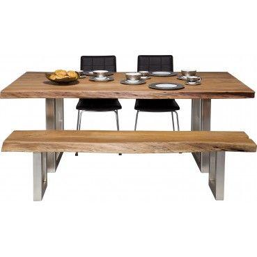 Une #table design qui allie le bois et l'acier pour donner naissance à une pièce d'exception qui apportera de la chaleur et de la convivialité à votre salle à manger.  Table en #bois Nature Line 195x100 Kare #Design