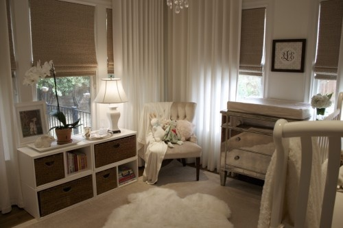 Love the corner of curtains and chair