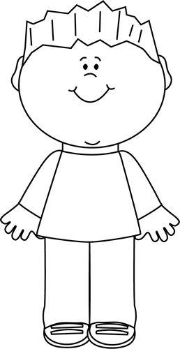 Black And White Happy Boy Clip Art