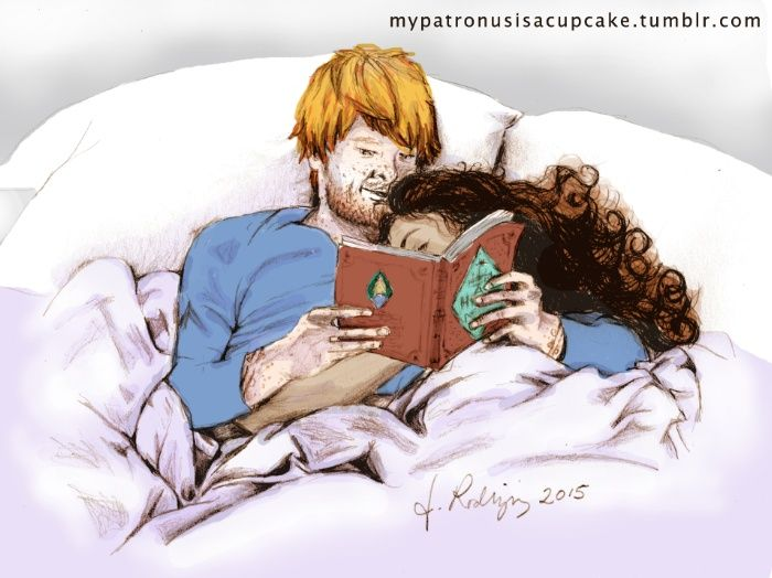 Ron Weasley knows the way to Hermione's heart; reading her a book in a low soft tone, on a lazy Sunday morning when neither of them have anywhere else to go. His voice soothes her as he reads from History of Magic, and she burrows deeper into his arms, listening with closed eyes and long deep breaths. This is their happy place. Reading in bed. <br/> <br/> Traditional drawing illustration in pencil, scanned and digitally colored by Jessica Rodriguez, under Owl Afterno...