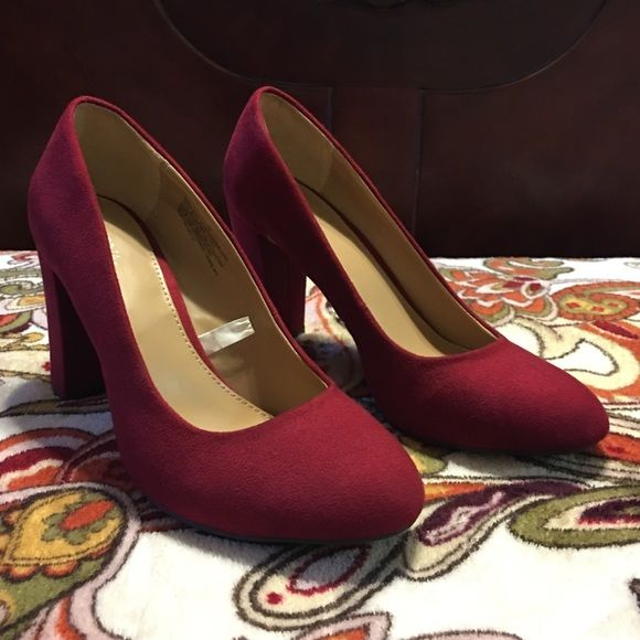NWOT red suede chunky heel shoe Brand new no box or tags red chunky heel shoe. Merona Shoes Heels