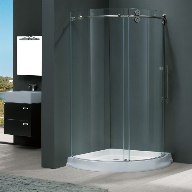 buy the vigo 40 x 40 frameless round 5 16 clear stainless steel shower enclosure right sided door with white base from homeclick at the discounte