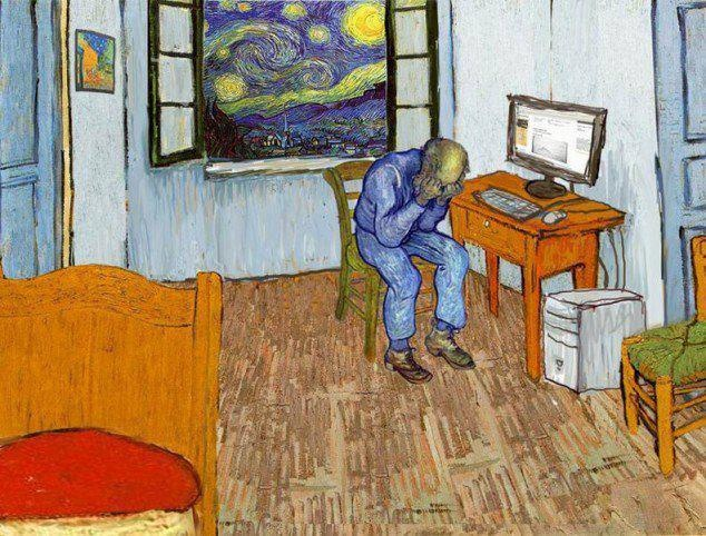 Bedroom in arles vincent van gogh parodie art for Bedroom in arles