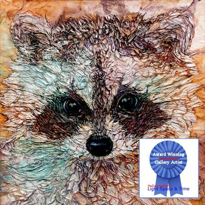 Kit AWARDED Special Merit - Similar works will be at the One of a Kind Show and Sale Toronto #OOAKX13 #OOAK_Toronto #Paperart #penandink #raccoon #wildlife #paper