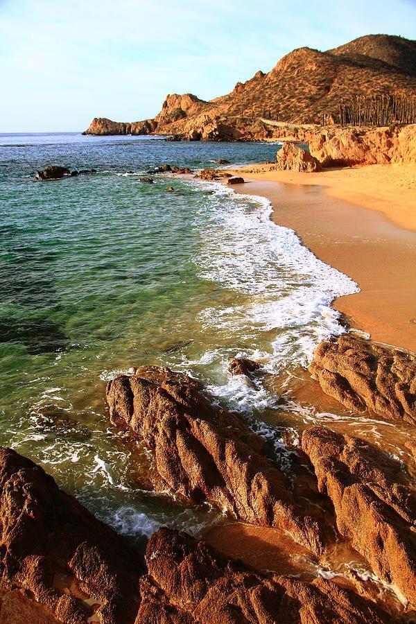 Los Cabos Coastal Landscape with the Sea of Cortez meeting the Sierra de la Laguna Mountains, Baja, Mexico