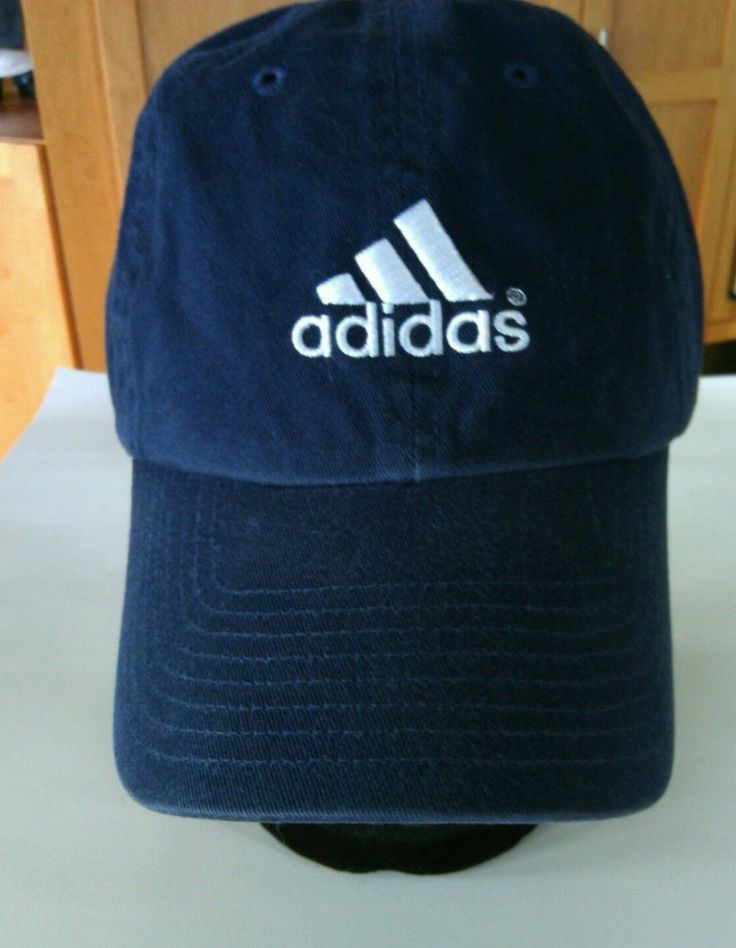 Adidas Navy Blue Baseball Cap Hat Sports Cotton Running Jogging Embroidered