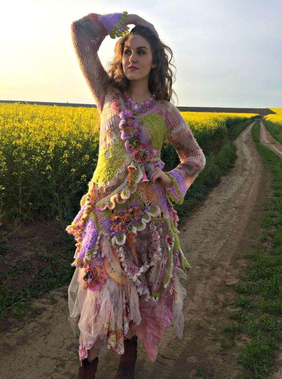 Ganchillo bohemio romántico vestido boho chic mori chica vestido de hadas vestido vestido de andrajos arte vestible vestido vestido ecléctica gitana