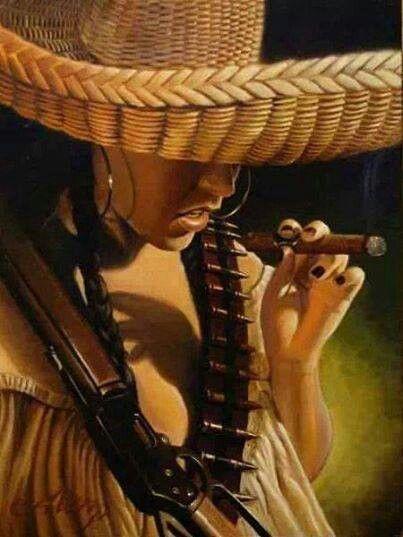 Mexicana con su puro