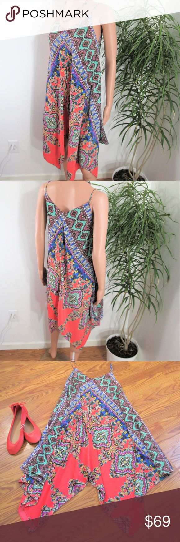 "New! Casual Couture* Silk Handkerchief Dress Pretty popover in coral, mint, blue, purple. A-line, tent, trapeze shape. Asymmetrical  point hem.  Measured flat. 16"" pit to pit. 28"" ~ 38"" long, without straps. on 5' 9'' model, 33'' x 24'' x 33.5''.  Casual Couture by Green Envelope Neiman Marcus Casual Couture Dresses"