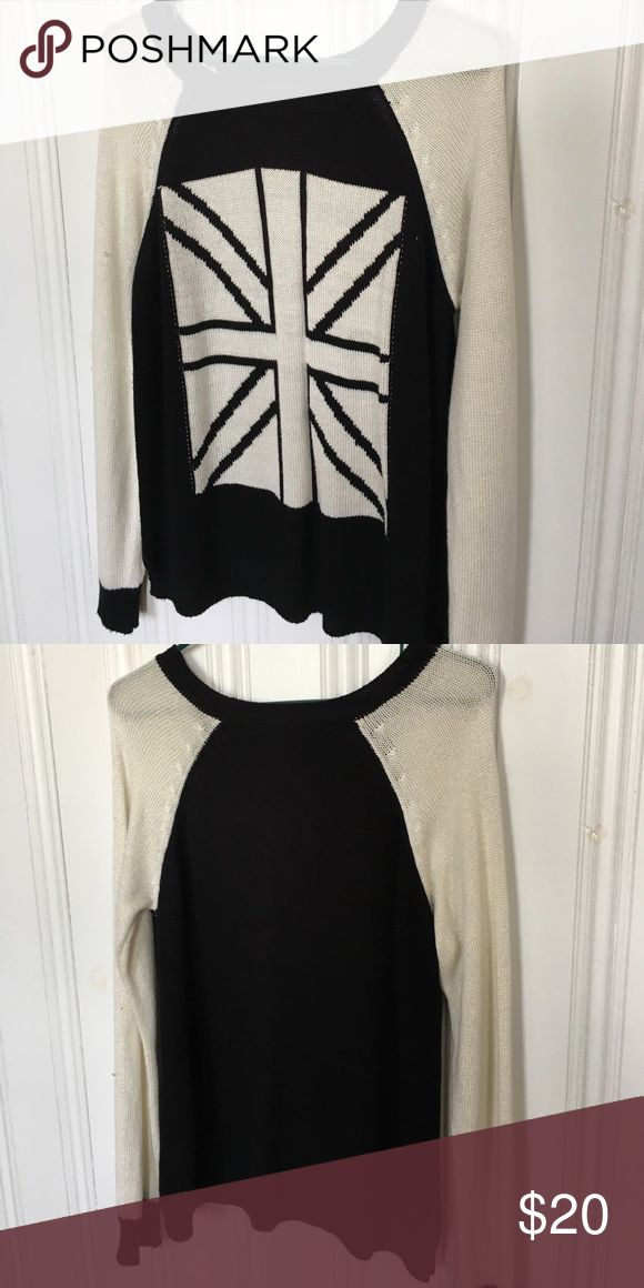 Forever 21 Slouchy Union Jack Sweater Very comfortable and soft Forever 21 sweater with black and white Union Jack. One of the best Forever 21 clothes I own! Forever 21 Sweaters
