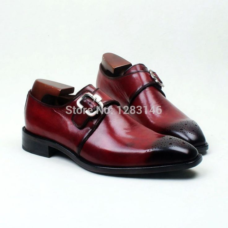 obbilly Bespoke Custom Handmade Genuine Leather Upper/outsole/Insole Wine Single Monk Strap Square toe Men's Flats Shoe No.MS107