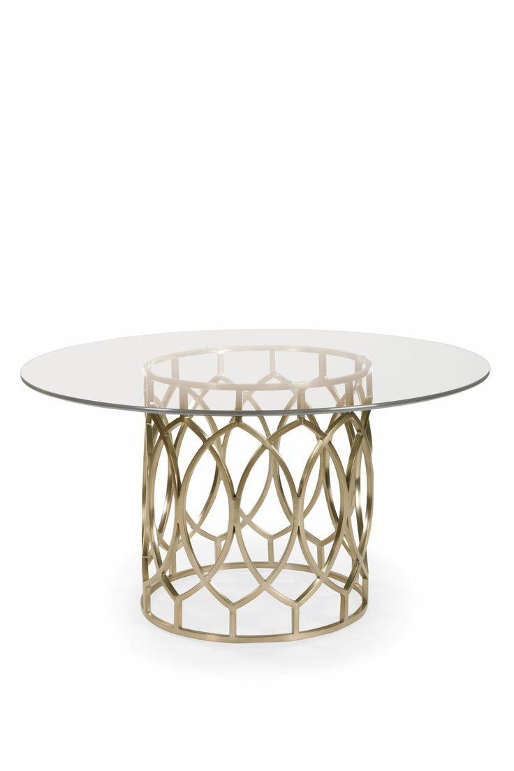 Bernhardt Furniture Salon Round Dining Table with Glass Top in Salon - Bernhardt Furniture - Brands