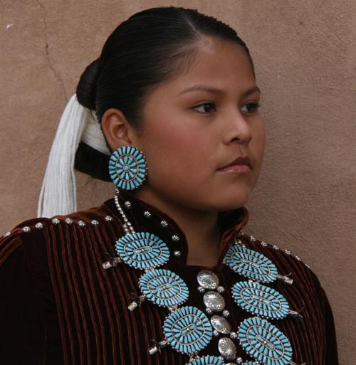 Navajo Girl in Traditional Dress - Santa Fe Indian Market
