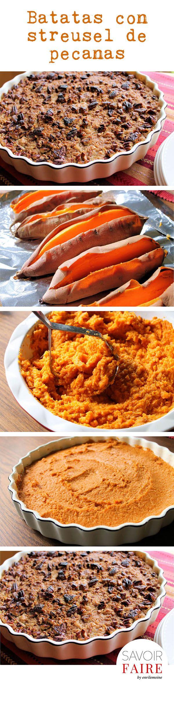 Esta dulce receta de puré de batatas con streusel de pecanas es una delicia y es perfecta para tu menú de Acción de Gracias. Te invito a leerla en mi blog Savoir Faire (haz clic en la imagen para ver la receta).