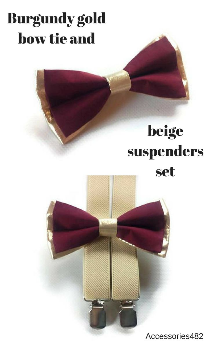 $19.95 Set of bow tie and suspenders Burgundy & gold bow tie with beige elastic Y-back suspenders Ring bearer set of suspenders and bow tie  Groomsmen burgundy gold bow ties and beige suspenders Toddler bow tie Infant bow tie Wedding bow tie Wedding suspenders Groomsmen suspenders baby boy suspenders #goldburgundywedding #gold_bowtie #ringbearer_set