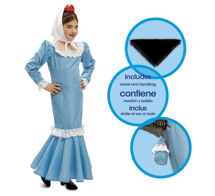 Disfraz #chulapa o #madrileña azul para niñas. #SanIsidro #Madrid #FeriadeSanIsidro #Disfraz