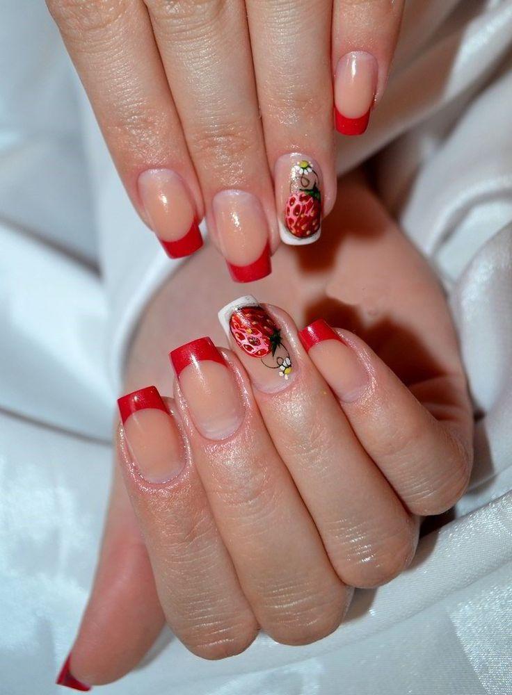 Фото ногтей красный френч с рисунком
