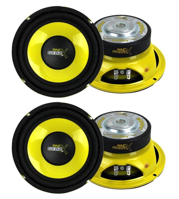 "4) Pyle PLG64 6.5"" 1200 Watt Car Mid Bass/Midrange Subwoofers Sub Power Speakers"