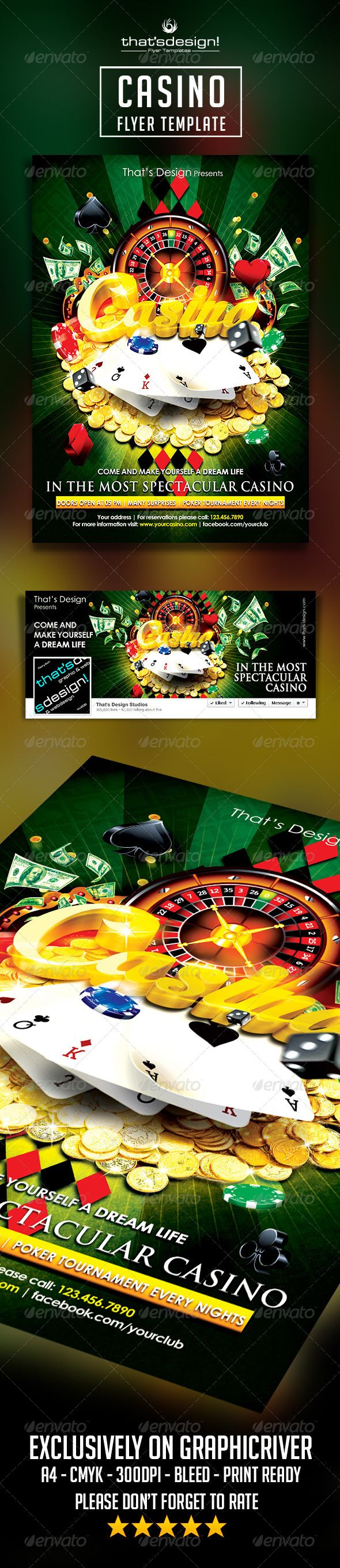 This Casino Flyer Template even include Facebook cover.  Tips to edit flyer's general text:  Title: Double click smart object layer>>>replace title here, text can be replaced by your own title on new window and save it.