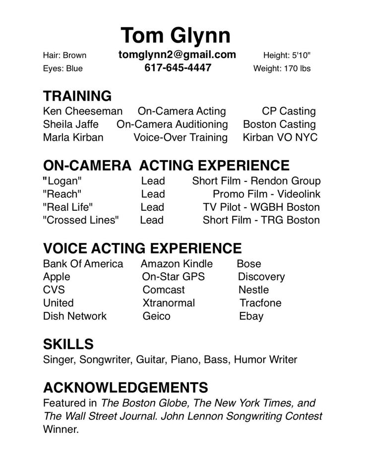 7 best resume images on pinterest student resume high school acting resume no experience - Resume Format For Actors