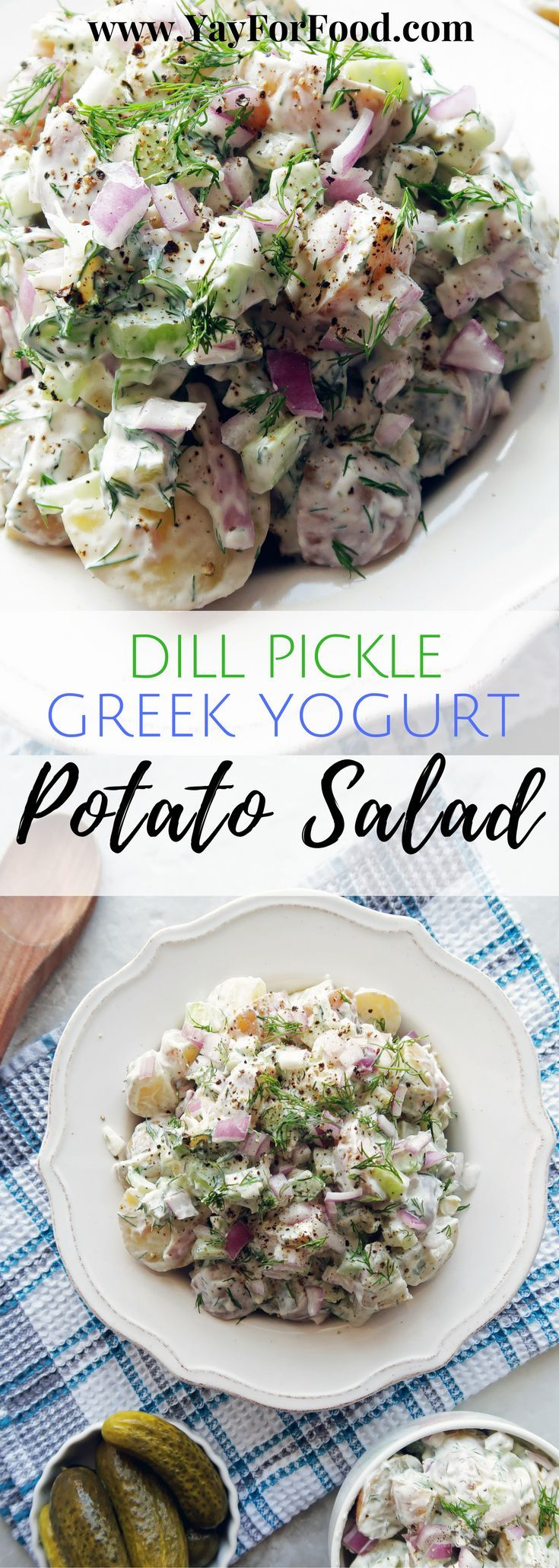 Baby potatoes are combined with sour dill pickles, bold red onions, and sweet celery and then tossed together with a lemony, dill yogurt dressing! side dishes | vegetarian | picnic | potluck | gluten-free