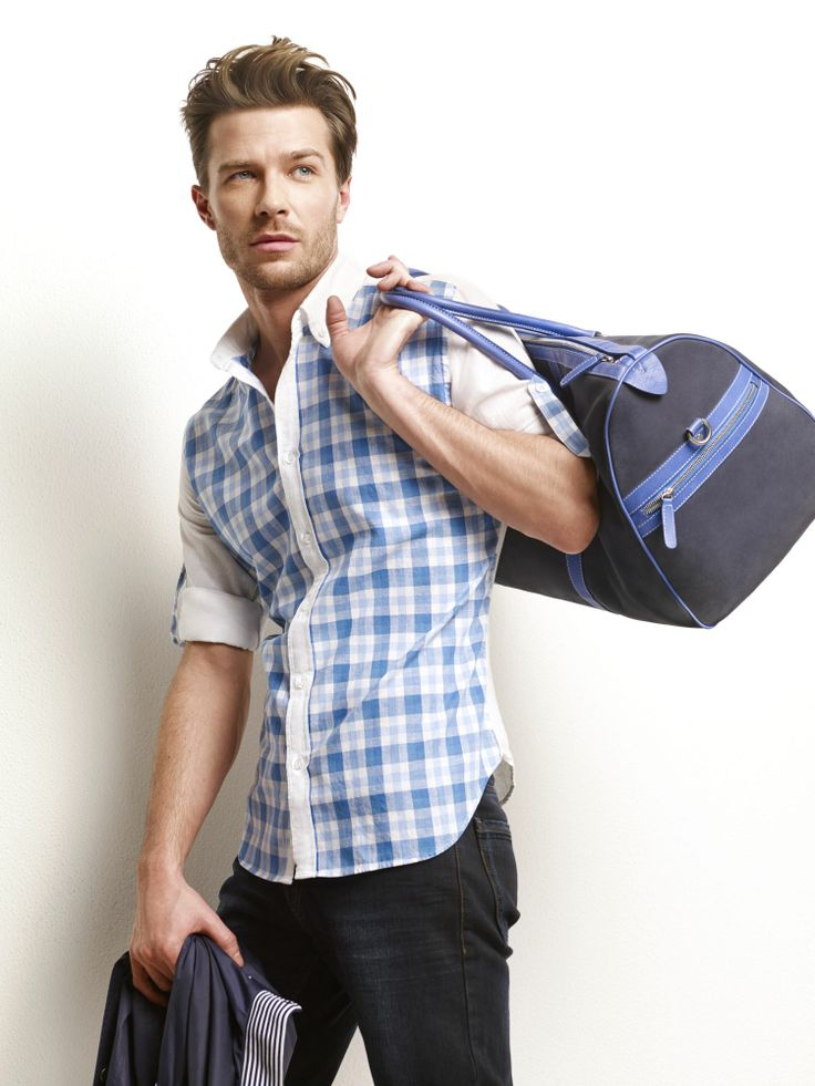 D'S Casual Spring/Summer 2014  #DsDamat #Casual #Newseason #SS2014  #mensfashion #menstyle #fashion #style #plaid #shirt #blue #shorts #bag