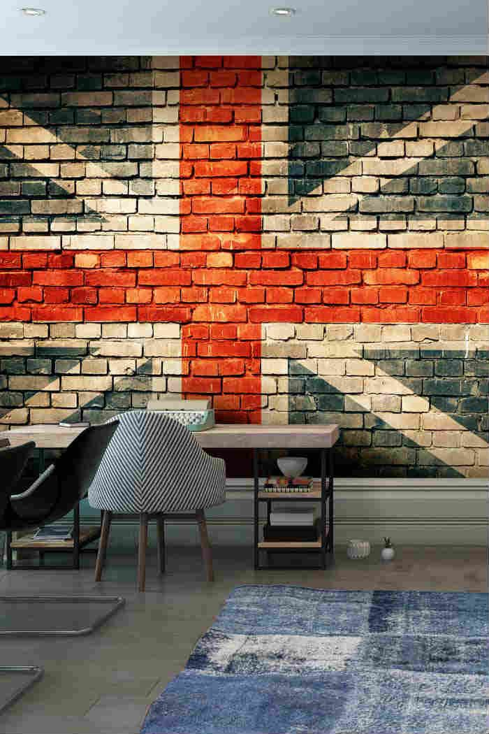 Union Jack On Old Brick Wall Mural Part 73