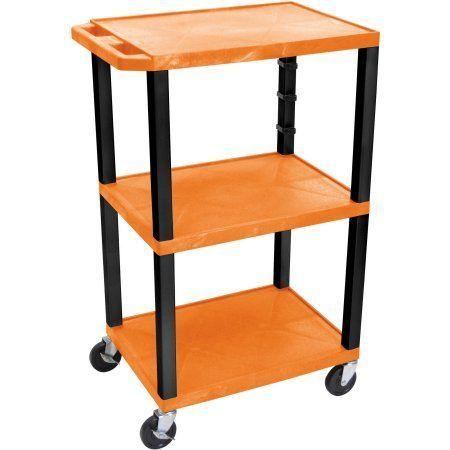 H. Wilson Tuffy 3-Shelf A/V Cart with Electric, Orange Shelves and Black Legs