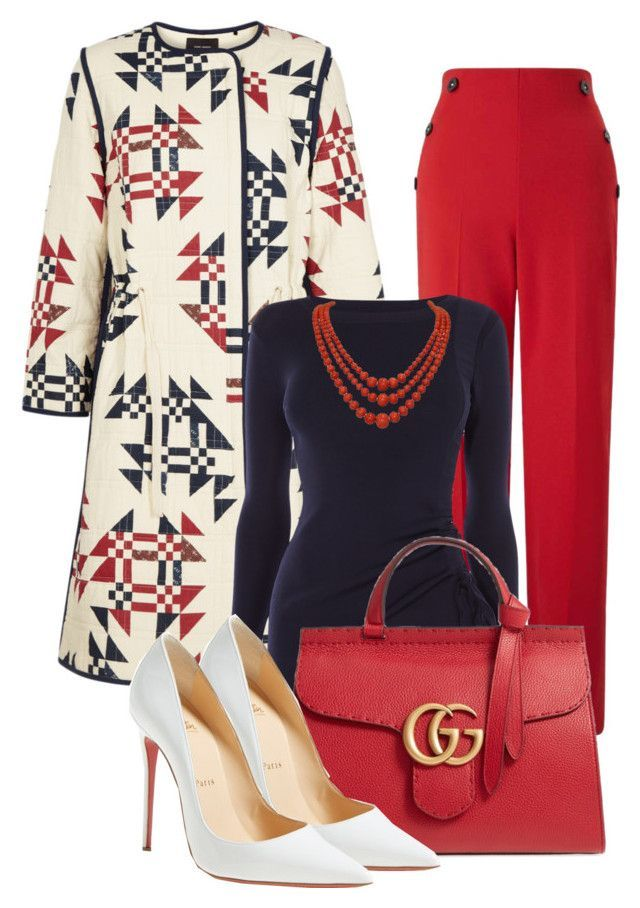 """""""For the love of Printed Coat (OUTFIT ONLY!)"""" by atenaide86 ❤ liked on Polyvore featuring Isabel Marant, Miss Selfridge, Karen Millen, Gucci and Christian Louboutin"""