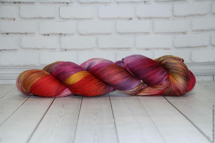 Купить Пряжа ручной окраски. 60%меринос/30%шелк/10%кашемир - комбинированный, пряжа для вязания, пряжа для вязания спицами