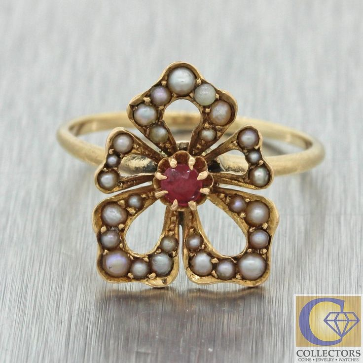 1880s Antique Victorian 10k Yellow Gold .07ct Ruby Seed Pearl Club Shape Ring    eBay