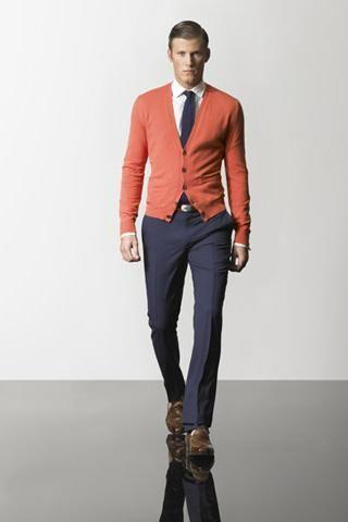 Мужской деловой стиль кардиган рубашка