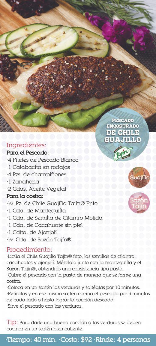Receta pescado encostrado de chile guajillo (chiles secos)