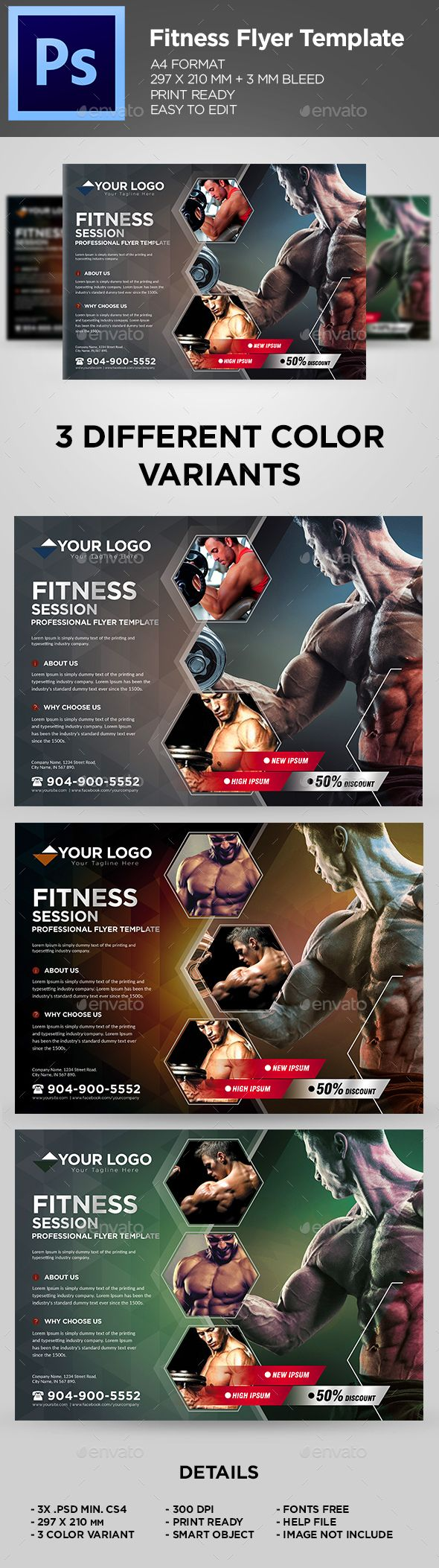 #Fitness #Flyer / Gym Business Flyer Template - Sports Events Download here:  https://graphicriver.net/item/fitness-flyer-gym-business-flyer-template/19714116?ref=alena994