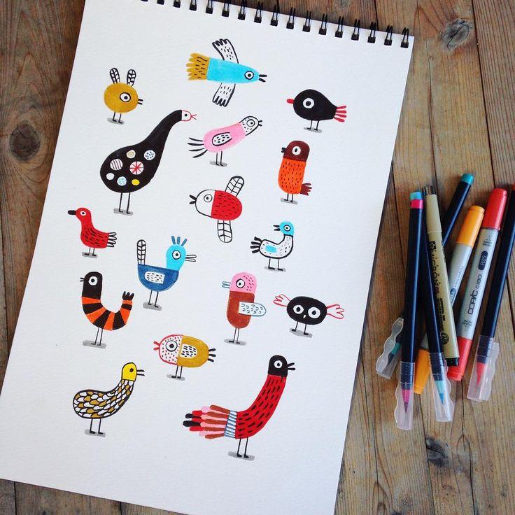 Oiseaux. #illustrationoftheday #markers #birds