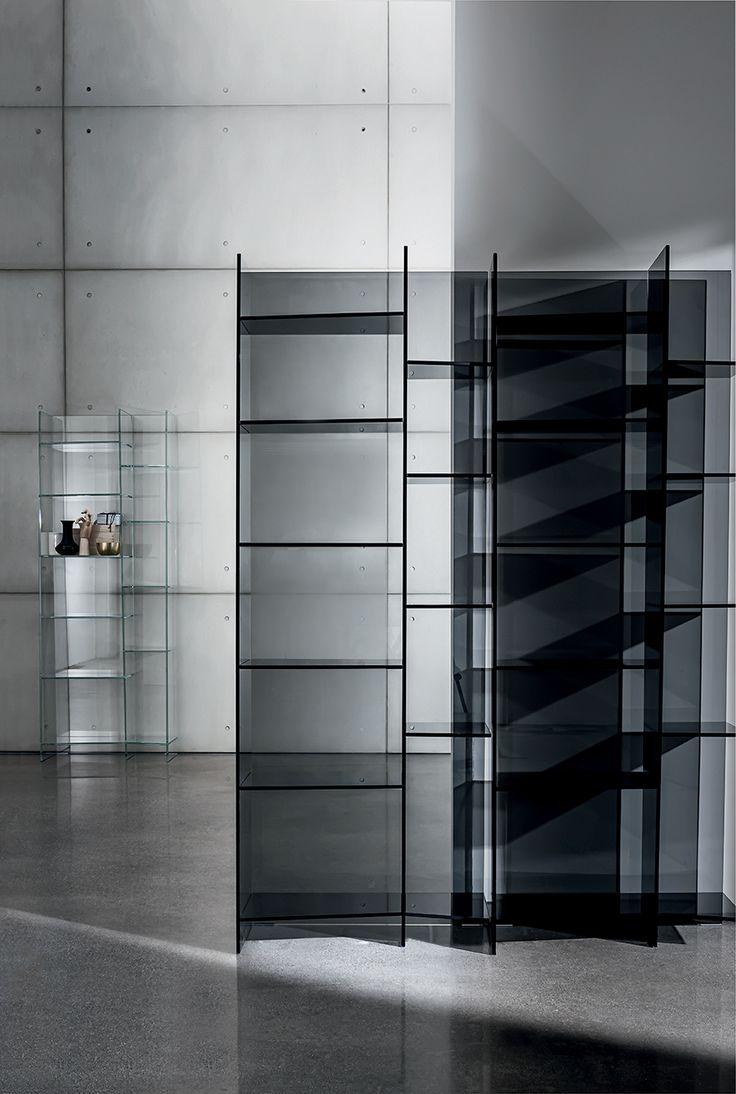 "Delphi modular #glass #bookcase that creates a sinuous ""wave"" effect through its trapezoidshaped shelves of different sizes  #interior #desing #decor"
