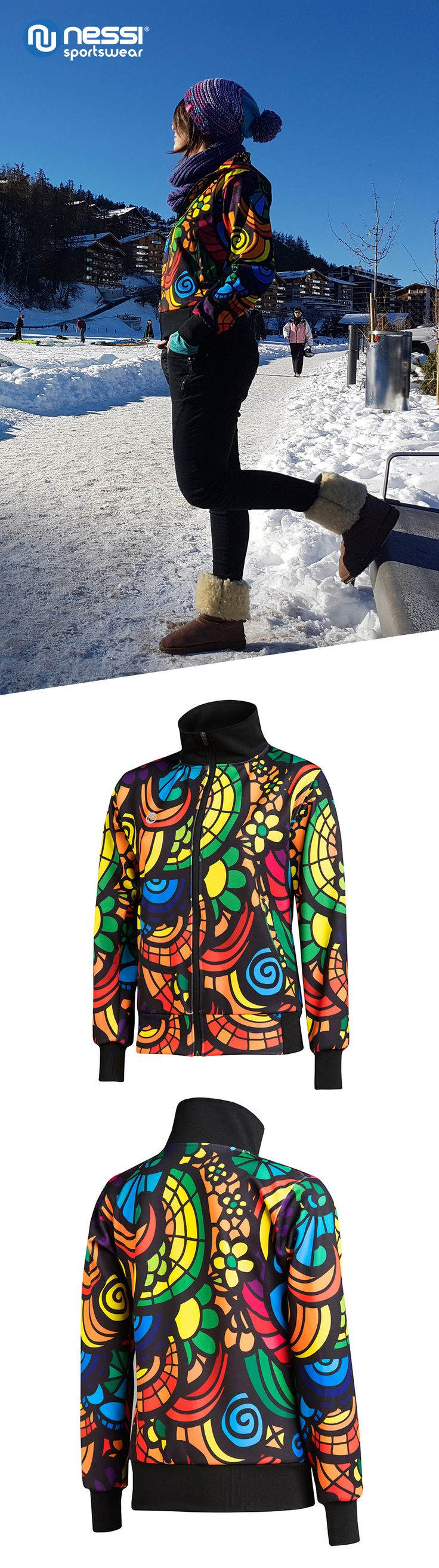 Bomber jacket, new collection 2017, 80's style, 90's style, sports fashion, colored mosaic.