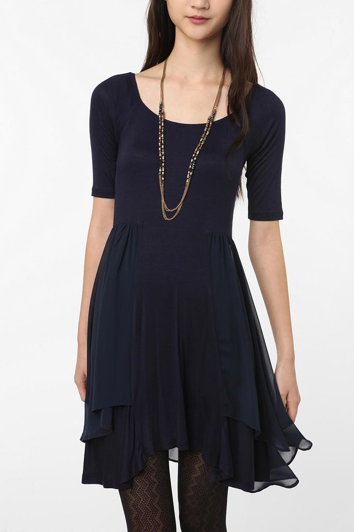 Pins and Needles // Chiffon-trim knit dress: Blue Chiffon Dresses, Chiffon Skirt, Knit Dress, Black Dresses, Cute Dresses, Knits Dresses, Navy Blue, Needle Chiffon Trim, Chiffon Trim Knits