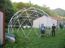 Greenhouse PVC.Manual for 3 Frequency Dome Kit Construction 24' by 24'. Can buy greenhouse and chicken coop kits as well.