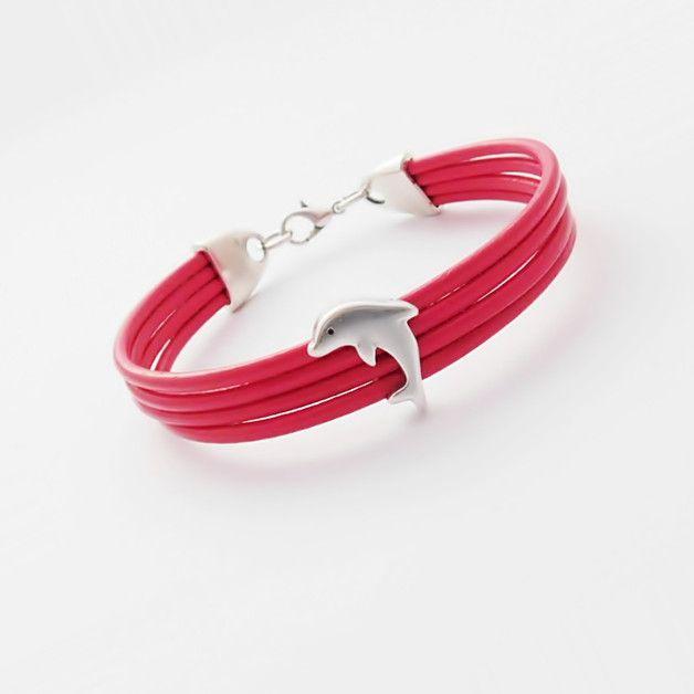 Skórzana z delfinem różowa - NaLeMi-jewellery - Bransoletki i opaski na rękę