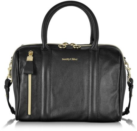 See by chloé Harriet Small Leather Satchel Bag W/shoulder Strap in Black