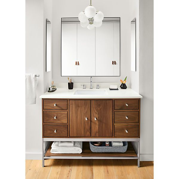 Linear Steel Base Bathroom Vanity Cabinets With Top Modern