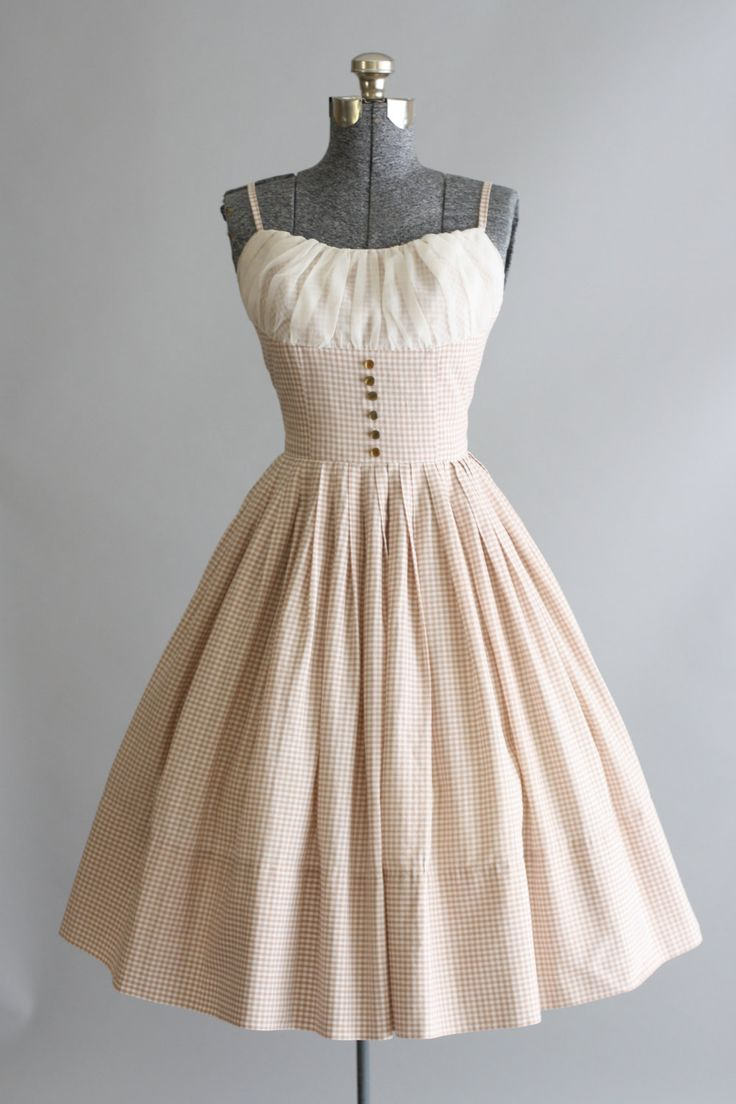 Vintage 1950s Dress / 50s Cotton Dress / Tan and White Gingham Sun ...