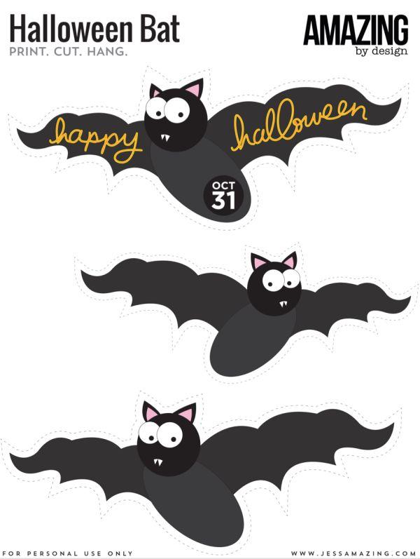free printable hanging bat halloween decor - Halloween Decoration Printables