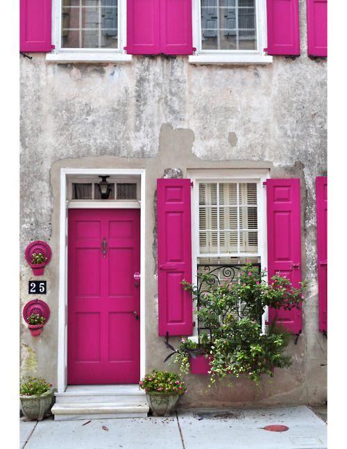Pink blink. Wow pink magenta front door and shutters